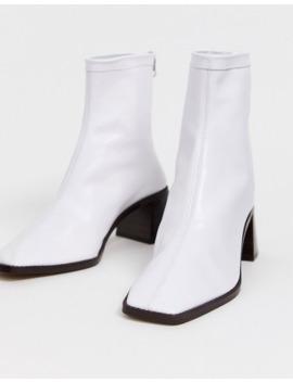 Asos Design Riverside Leather Kitten Heel Sock Boots In White by Asos Design
