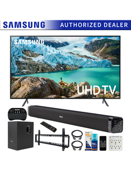 Samsung Un65 Ru7100 65 Inch Ru7100 Led Smart 4 K Uhd Tv (2019) Bundle With Deco Gear Soundbar With Subwoofer, Wall Mount Kit, Deco Gear Wireless Keyboard, Cleaning Kit And 6 Outlet Surge Adapter by Samsung