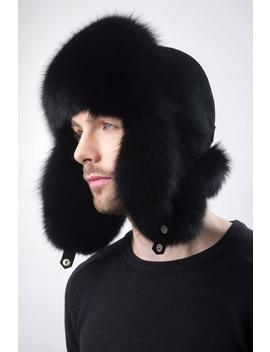 Black Fox Fur Trapper Hat With Suede For A Men's 22 23' by Etsy