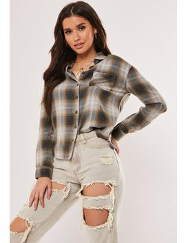 Navy Check Brushed Cotton Shirt by Missguided
