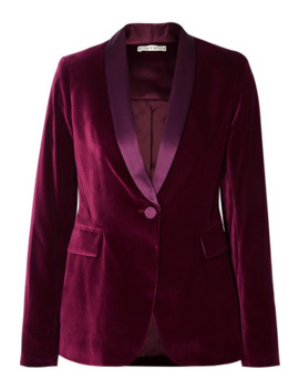Macey Satin Trimmed Velvet Blazer by Alice + Olivia