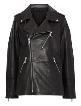 Eden Oversized Leather Biker Jacket by J Brand