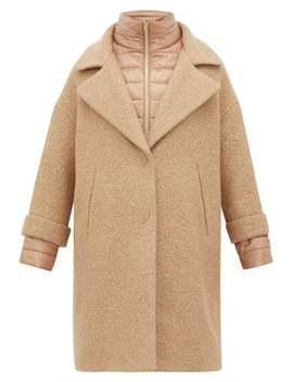 Gilet Insert Bouclé Wool Blend Coat by Herno