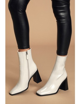Kiaya Off White Patent Square Toe Mid Calf Boots by Raid