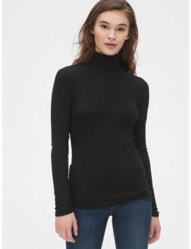 ribbed-turtleneck-top-in-modal by gap