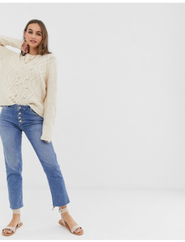 Pieces Bobble Detail Cable Knit Jumper In Oatmeal by Pieces