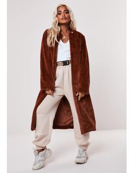 Petite Brown Collarless Long Faux Fur Coat by Missguided