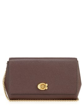 Foldover Pebbled Leather Crossbody Clutch by Coach
