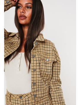 Stone Co Ord Grid Print Superstretch Denim Jacket by Missguided