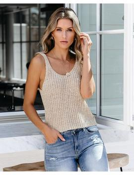 Russet Leaves Knit Tank   Natural by Vici