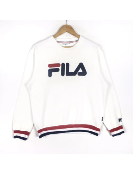 Rare!! Fila Casual Big Logo Tricolour Sweatshirt Medium Size by Vintage  ×  Fila  ×