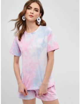 Zaful Tie Dye Short Sleeves Top And Shorts Set   Multi S by Zaful
