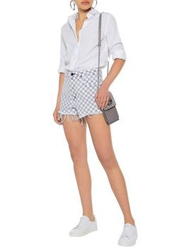 Distressed Checked Denim Shorts by Alexander Wang