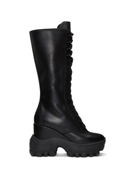 Black Lace Up Wedge Sneaker Boots by Miu Miu