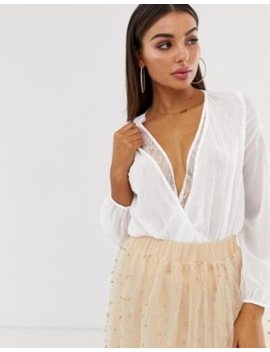 Koco &Amp; K Wrap Lace Trim Blouse In Ivory by Asos