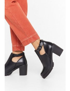 Cut Out Cleated Faux Leather Biker Boots by Nasty Gal