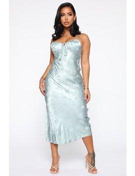 Style Queen Satin Midi Dress   Blue by Fashion Nova