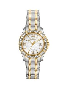 Eco Drive Diamond & Two Tone Stainless Steel Bracelet Watch by Citizen