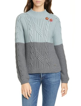 Colour By Numbers Slimbo Cable Knit Cotton Blend Sweater by Ted Baker London