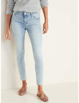 Mid Rise Acid Wash Raw Edge Rockstar Jeans For Women by Old Navy