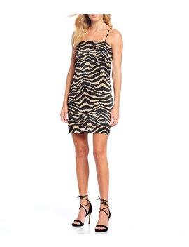 Mark Square Neck Satin Tiger Print Slip Dress by Gianni Bini
