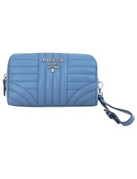Diagramme Leather Clutch Bag by Prada
