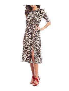 Leopard Printed Self Tie Front Slit Midi A Line Dress by Eliza J