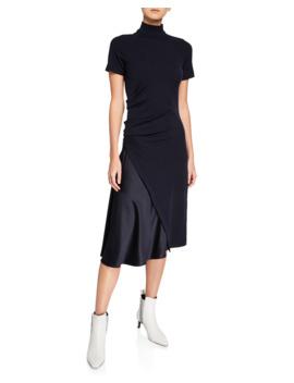 Short Sleeve Mock Neck Dress by Brunello Cucinelli