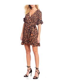 Lauren Ruffle Detail Leopard Print Georgette Wrap Dress by Gianni Bini