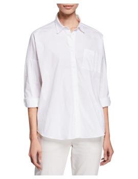 Oversized Button Front Cotton Poplin Shirt by Brunello Cucinelli
