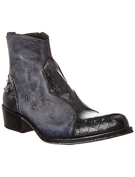 Jo Ghost Reptile Embossed Leather & Suede Boot by Jo Ghost