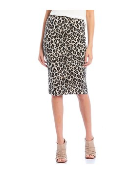 Leopard Print Pull On Midi Pencil Skirt by Vince Camuto