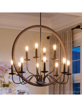 "Luxury Modern Farmhouse Chandelier, 28.75""H X 32""W, With English Country Style, Olde Bronze Finish By Urban Ambiance by Urban Ambiance"