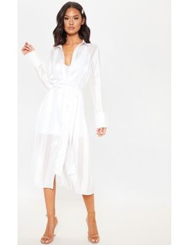 White Satin Midi Shirt Dress by Prettylittlething