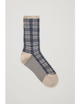 Metallic Checked Socks by Cos