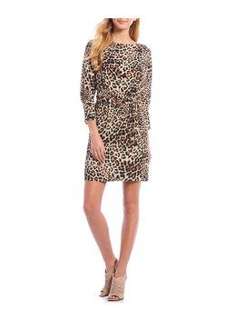 Cheetah Print Tie Waist Sheath Dress by Vince Camuto