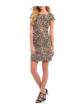 Cap Sleeve Leopard Jacquard Sheath Dress by Vince Camuto