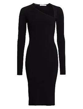 Asymmetric Neckline Knit Dress by Helmut Lang