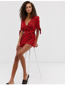 Influence Wrap Front Romper In Splodge Print by Asos