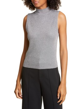 Lanie Sleeveless Mock Neck Metallic Wool Blend Sweater by Alice + Olivia