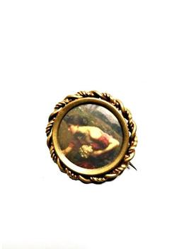 Antique Edwardian Picture Brooch Woman Artwork Art Neoclassical C Clasp Pin by Etsy