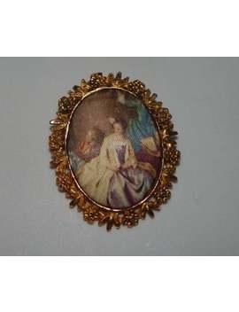 Vintage Silk Cameo Ladies Victorian Style Ladies Gold Tone C Clasp Vintage Cameo Broooch by Etsy