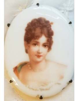 Victorian Hand Painted Portrait Brooch   Prong Set, C Clasp Pin by Etsy