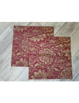 Pottery Barn Florentine Damask Pair Pillow Covers Red Gold 20x20 Square Cotton by Pottery Barn
