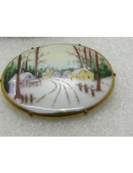 "Vintage Painted Porcelain Winter Brooch, Country Road In The Snow, Oval, 1 7/8"" Wide And 1 3.8"" Tall, C Clasp by Etsy"