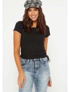 Black Side Tie Ruched Tee by Rue21