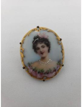 Victorian Hand Painted Cameo; Porcelain Portrait Brooch; Art Nouveau; C Clasp; Antique; Vintage by Etsy