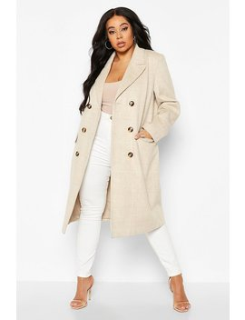 Plus Tonal Check Double Breasted Boyfriend Coat by Boohoo