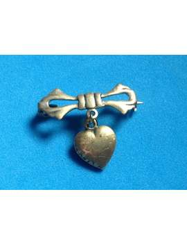 "Victorian Heart Pin. Simple ""C"" Clasp 1"" X 1""   Dangling, Engraved by Etsy"