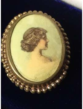 Vintage Portrait Brooch Victorian Lithograph Collectible Jewelry Vintage Broochs Pins by Etsy